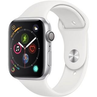 Apple Watch Series 4 44mm Strieborný hliník s bielym športovým remienkom