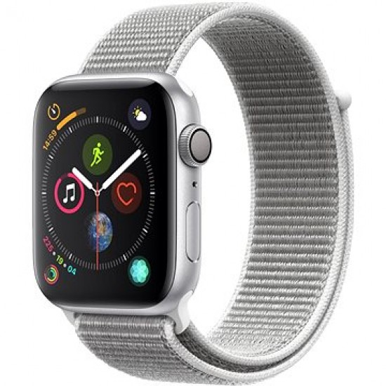 422fdb9d7 Apple Watch Series 4 44 mm Strieborný hliník s mušľovo bielym prevliekacím športovým  remienkom